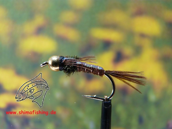 "Nymphe "" Pheasant Tail Flashback Bead Head """