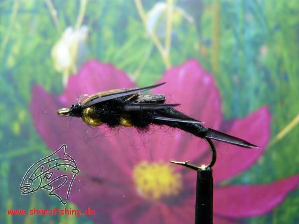 "Nymphe "" Stonefly Black Doublebeaded """