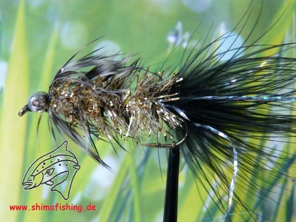 """Streamer """" Humungus Black/ Gold """" auf Schonhaken"""
