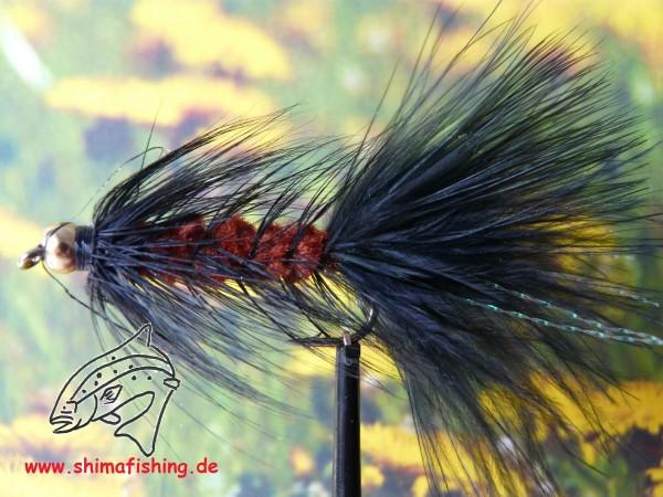 """Streamer """" Wooly Bugger Black Brown Bead Head """""""