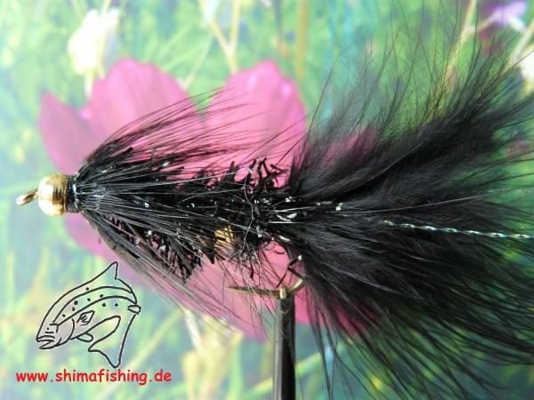 "Streamer "" Wooly Bugger Frizz Black Bead Head """