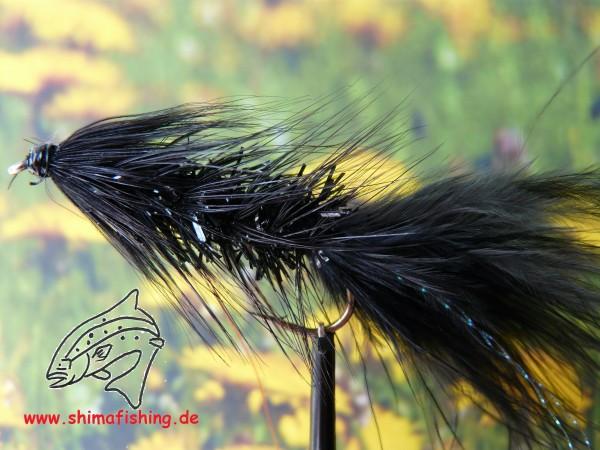 """Streamer """" Wooly Bugger Frizz Black """" auf Schonhaken"""