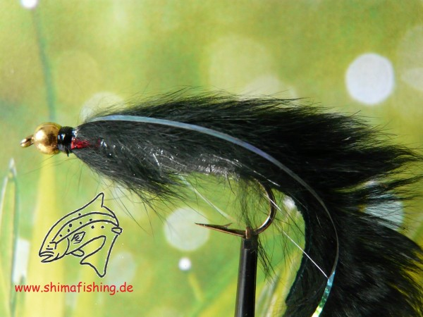 "Streamer "" Zonker Black Bead Head"" auf Schonhaken"