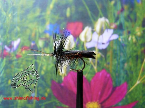 "Trockenfliege "" Blackhorn Sedge "" auf Schonhaken/ barbless hook"