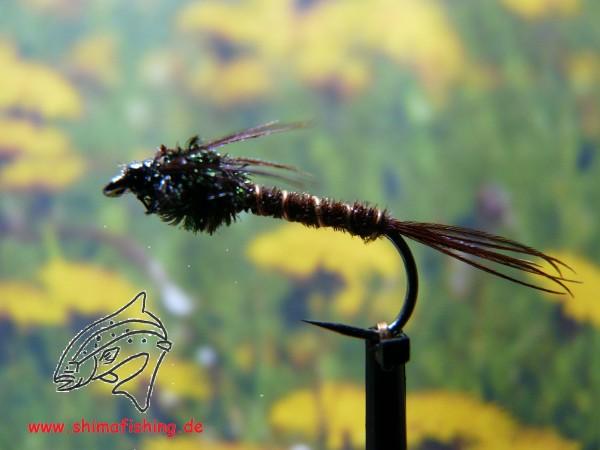 """Nymphe """" Pheasant Tail """" auf Schonhaken, barbless hook"""