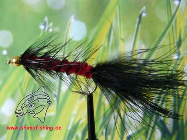 "Streamer "" Wooly Bugger Black Red Bead Head """