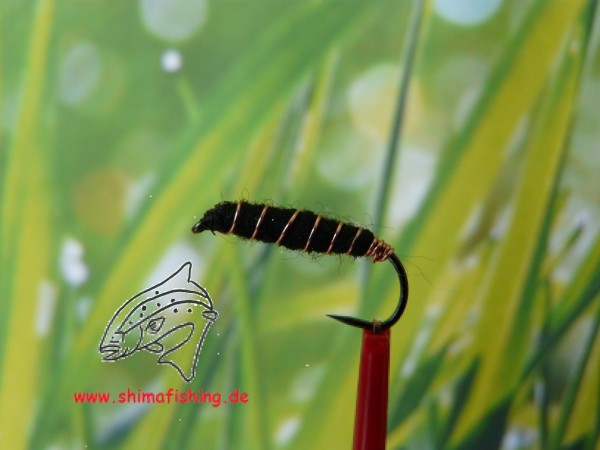 "Nymphe "" Killerbug Black "" auf Schonhaken, barbless hook"