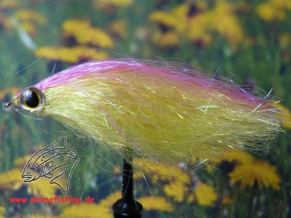 """Streamer """" Fiberfish Yellow Pink """" auf Schonhaken"""