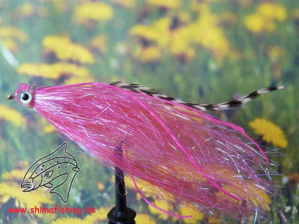 "Streamer "" Fiberfish Pink/ Grizzly """