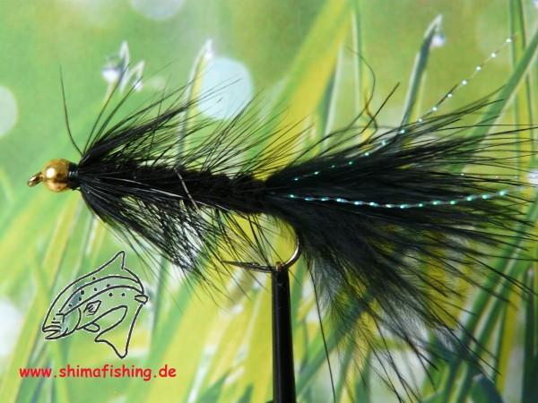 "Streamer "" Wooly Bugger Black Bead Head "" auf Schonhaken"