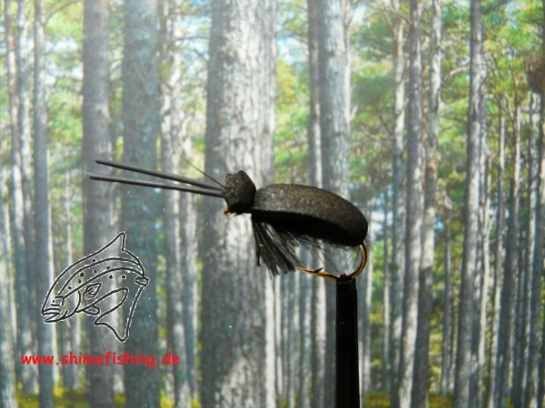 """Trockenfliege """" Black Beetle """" auf Schonhaken/ barbless hook"""