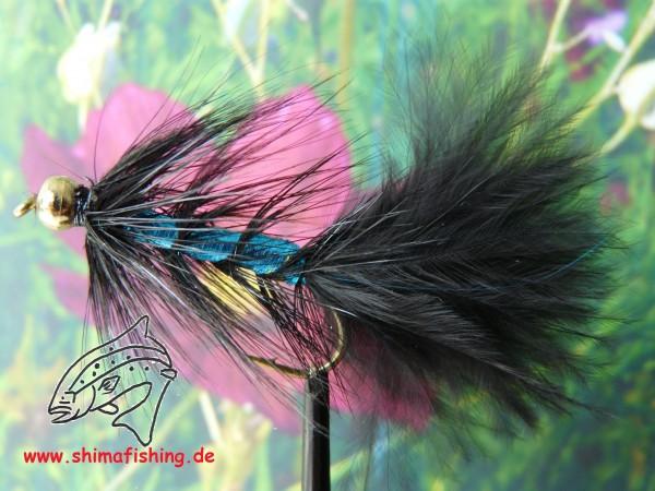 "Streamer "" Wooly Bugger Black Flash Blue Bead Head """