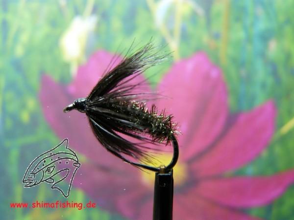 """Nassfliege """" Black Peacock Spider """" auf Schonhaken/ barbless hook"""
