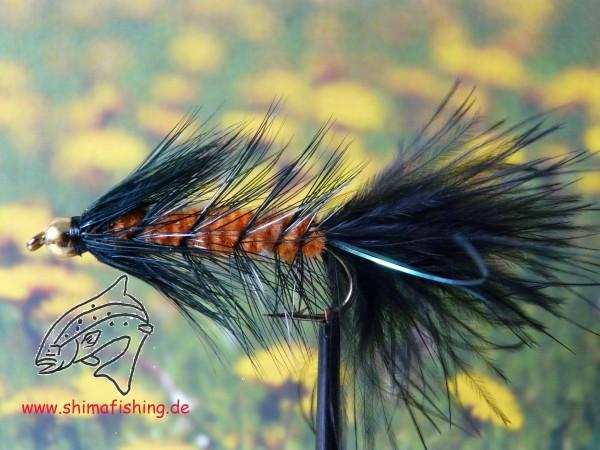 "Streamer "" Wooly Bugger Black Orange Bead Head """