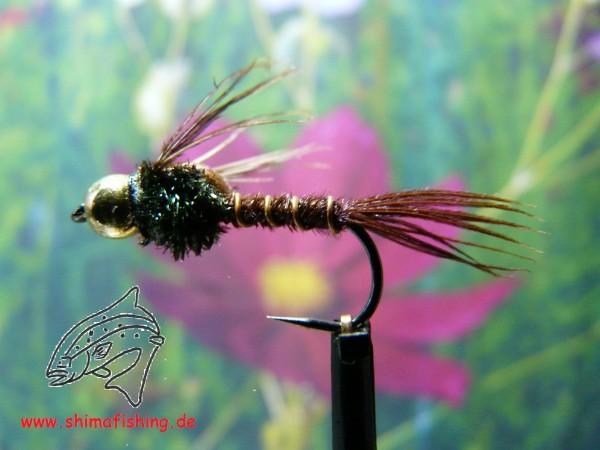 "Nymphe "" Pheasant Tail Bead Head "" auf Schonhaken, barbless hook"